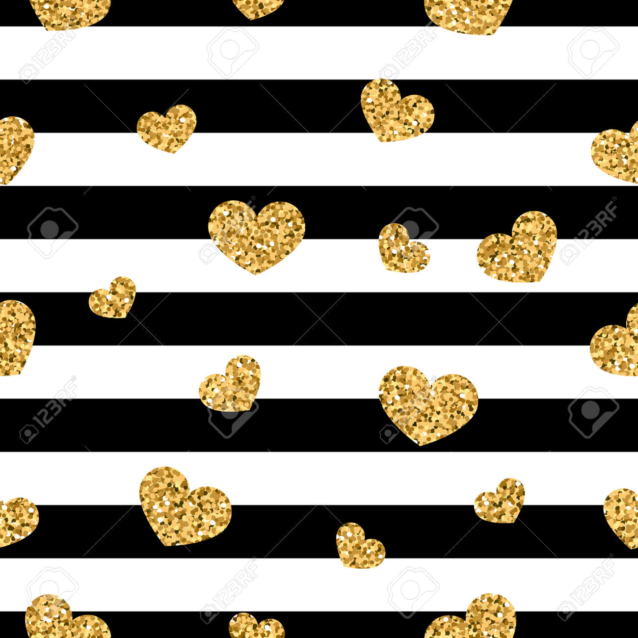 Gold Heart Seamless Pattern On Black And White Stripes Background Royalty Free Cliparts Vectors And Stock Illustration Image 97619147
