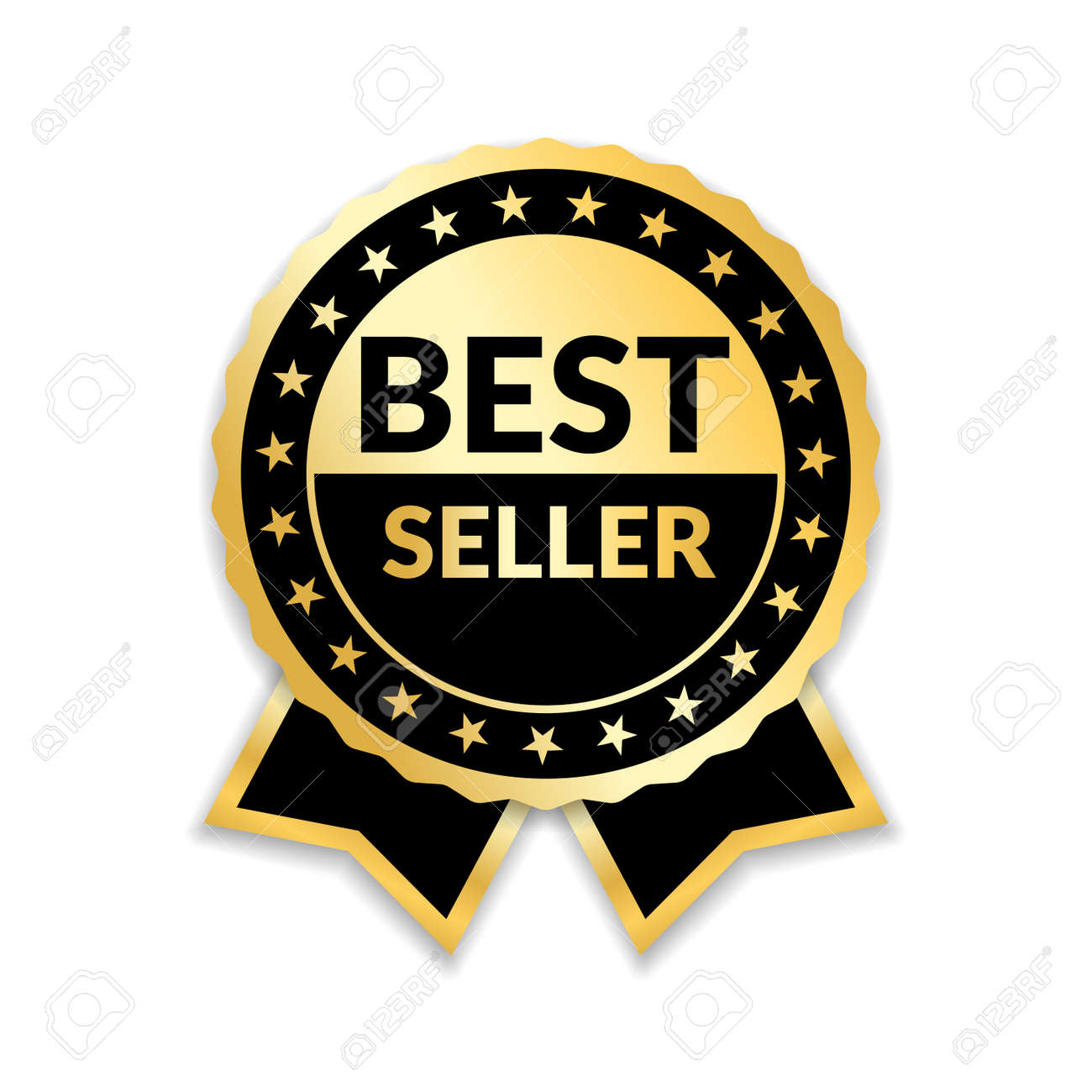 Ribbon award best seller. Gold ribbon award icon isolated white background. Bestseller golden tag sale label, badge, medal, guarantee quality product, business certificate Vector illustration - 99814152