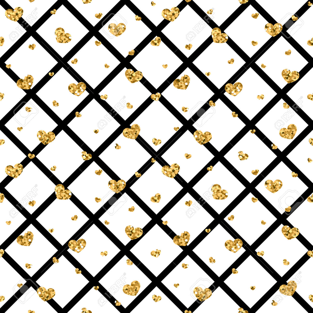Gold Heart Seamless Pattern Black White Geometric Decoration