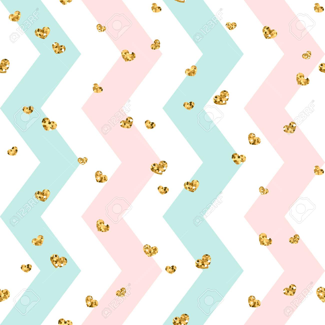 Gold Heart Seamless Pattern Pink Blue White Geometric Zig Zag