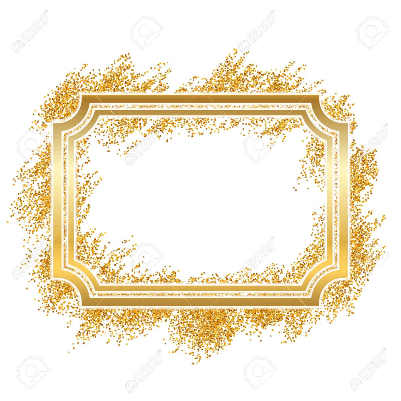 71762fc0ced9 Gold frame. Beautiful golden glitter design. Vintage style decorative  border