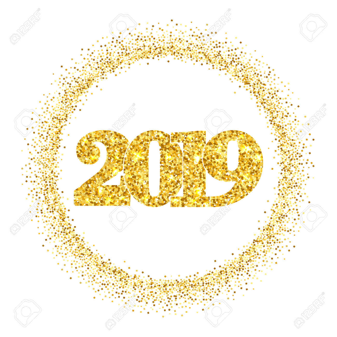 happy new year shiny gold number 2019 circle frame golden glitter border isolated on