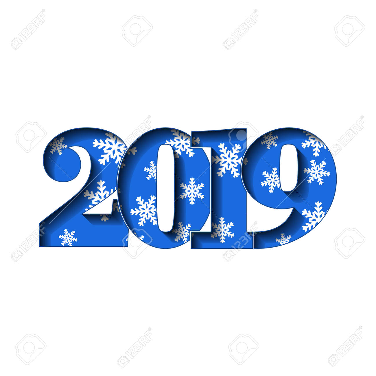 happy new year card blue 3d number 2019 with snowflakes texture isolated white background