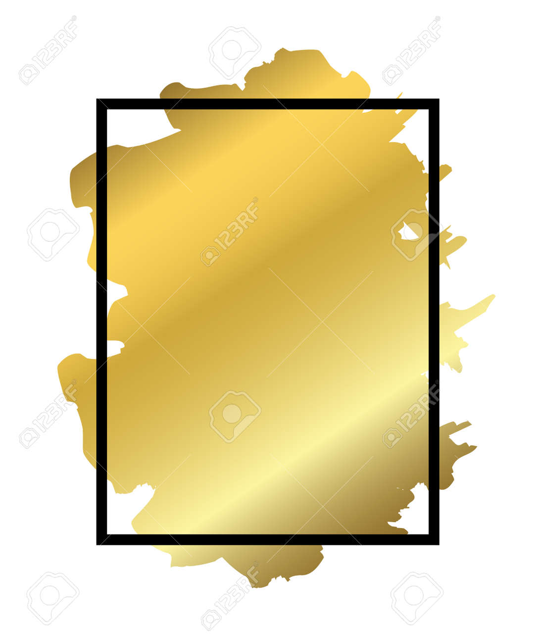 Gold Brush In Black Rectangle Frame Isolated White Background