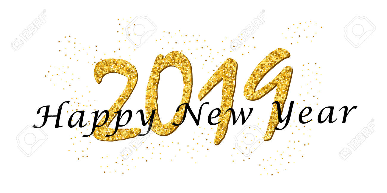 Happy New Year text  Bright gold number 2019 with sparkle isolated