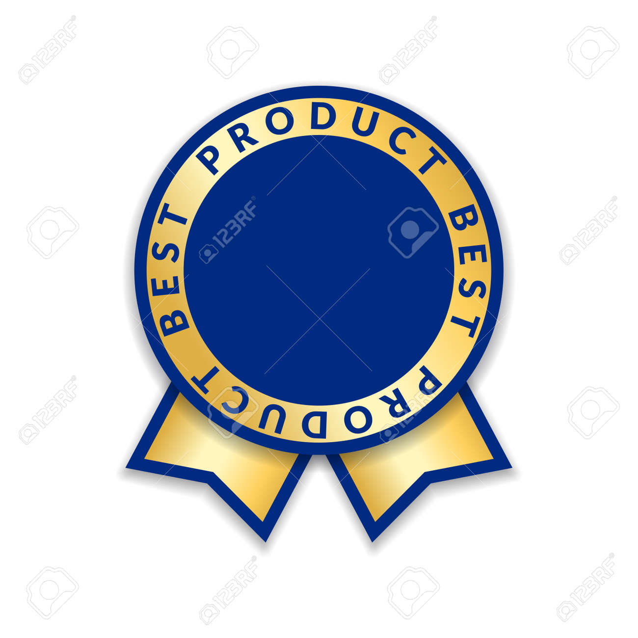 Ribbon award best product of year. Gold ribbon award icon isolated white background. Best product golden label for prize, badge, medal, guarantee quality product Vector illustration - 125259571