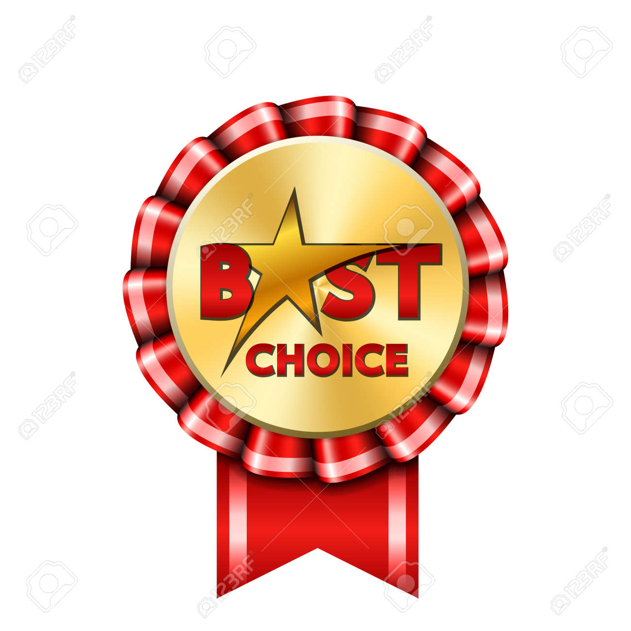 Best choice award ribbon sign. Gold icon isolated white background. Golden design banner, badge, label. Symbol medal, reward certificate, guarantee quality shop. Promotion customer Vector illustration - 122315696