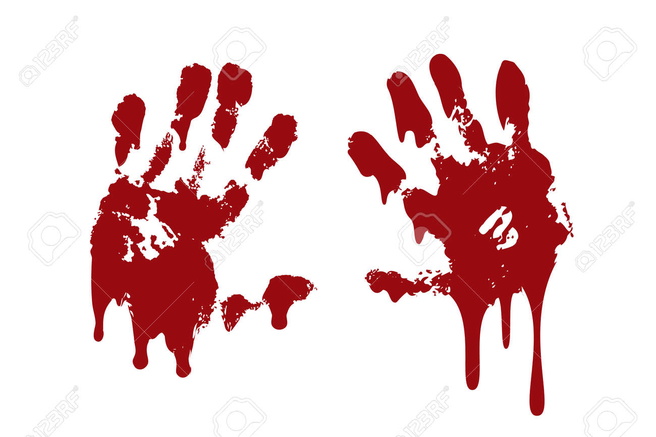 Bloody hand print set isolated white background. Horror scary blood handprint, fingerprint. Red palm, fingers, stain, splatter, streams. Symbol horror zombie, murder, violence Vector illustration - 127207100