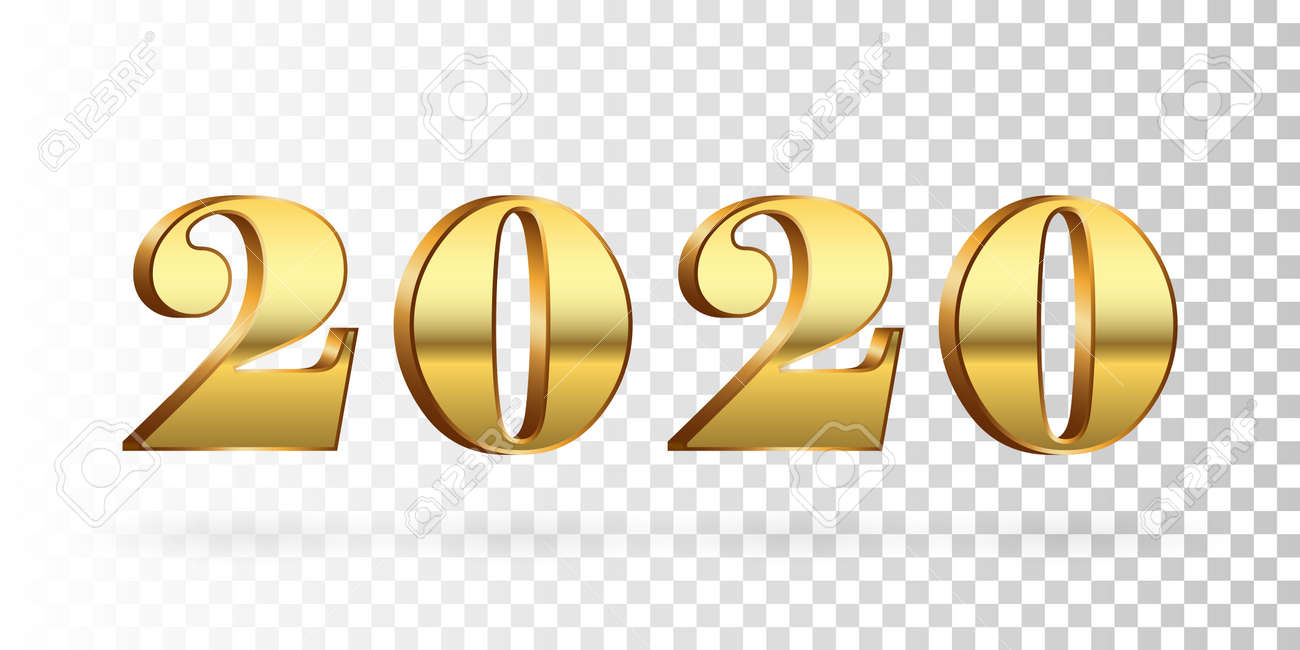 Christmas 2020 Graphic Transparent Happy New Year 2020. Gold 3D Number Isolated White Transparent