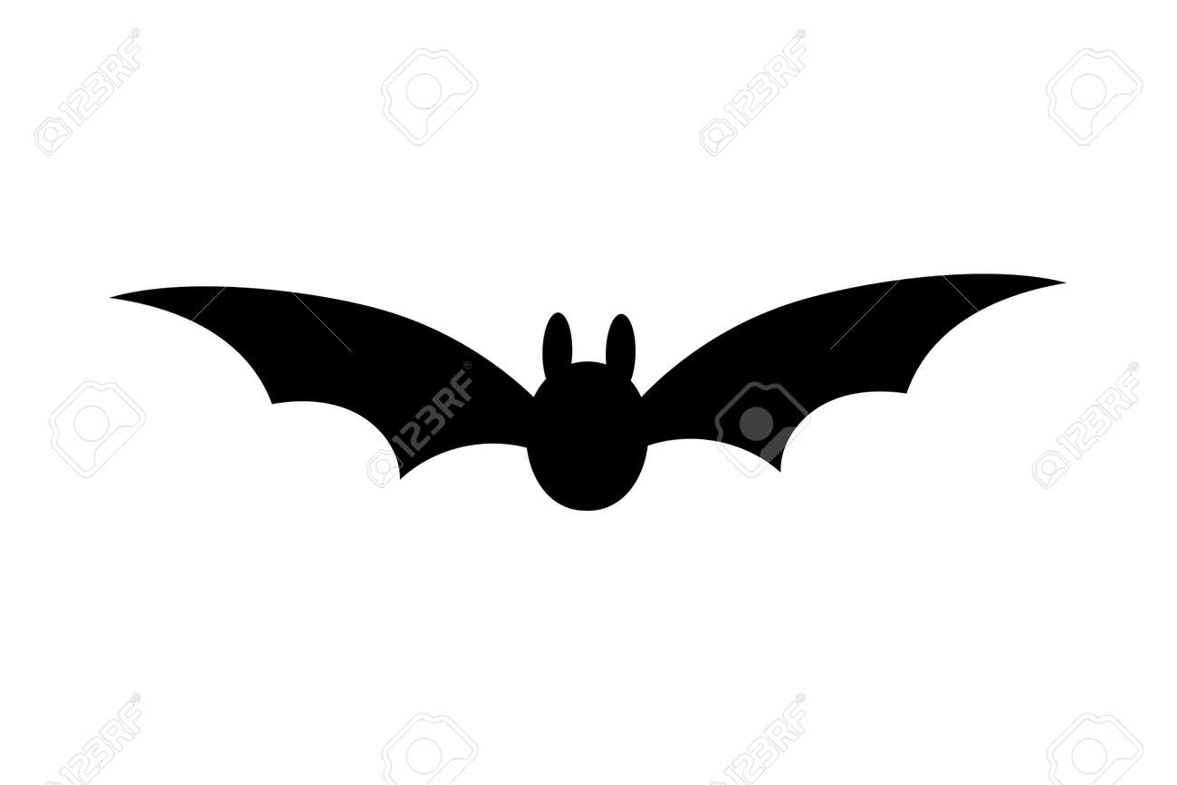 Bat icon. Bat black silhouette with wings isolated white background. Symbol Halloween holiday, mystery dark vampire, night flying element. Spooky scary flat design. Cartoon Vector illustration - 129344632