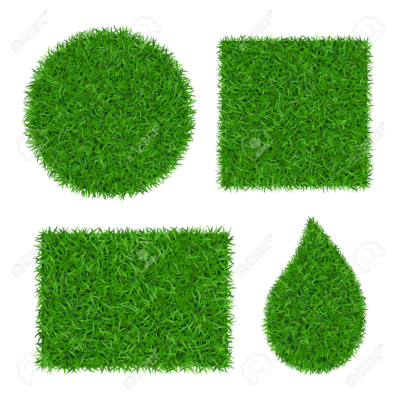 Green grass background 3D set. Lawn greenery nature. Abstract field texture circle, square, rectangle, drop. Ground landscape grassland pattern. Grassy design. Beautiful meadow Vector illustration - 130779402