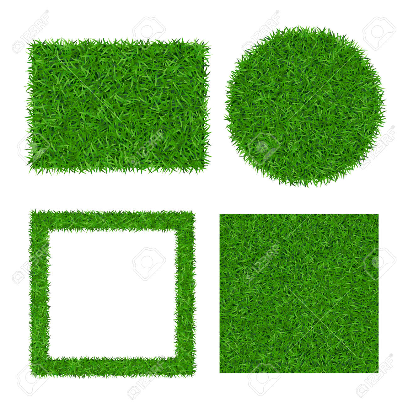 Green grass background isolated 3D set. Lawn greenery nature ball. Soccer field texture circle, square frame, rectangle. Ground grassland pattern. Grassy design. Grow meadow Vector illustration - 141102663