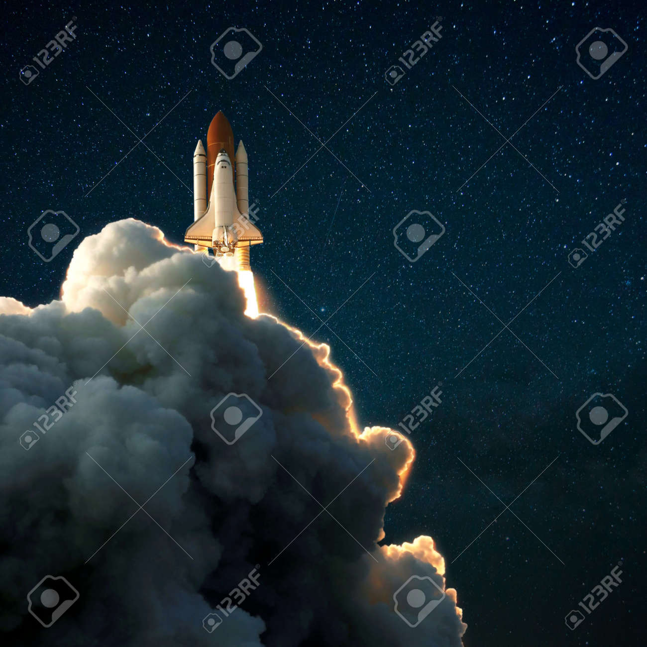 Space rocket shuttle takes off into the starry sky, Spaceship explores space - 120759189