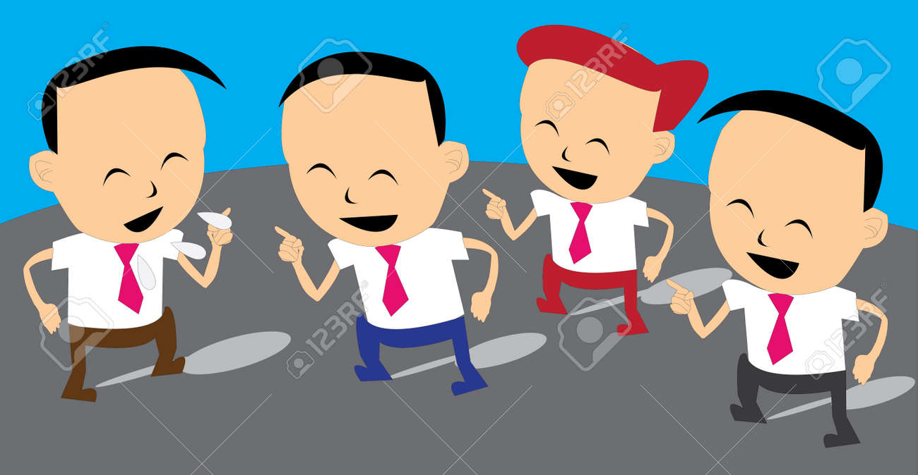 a business man tell a funny story and his friend agree with him Stock Vector - 22236225