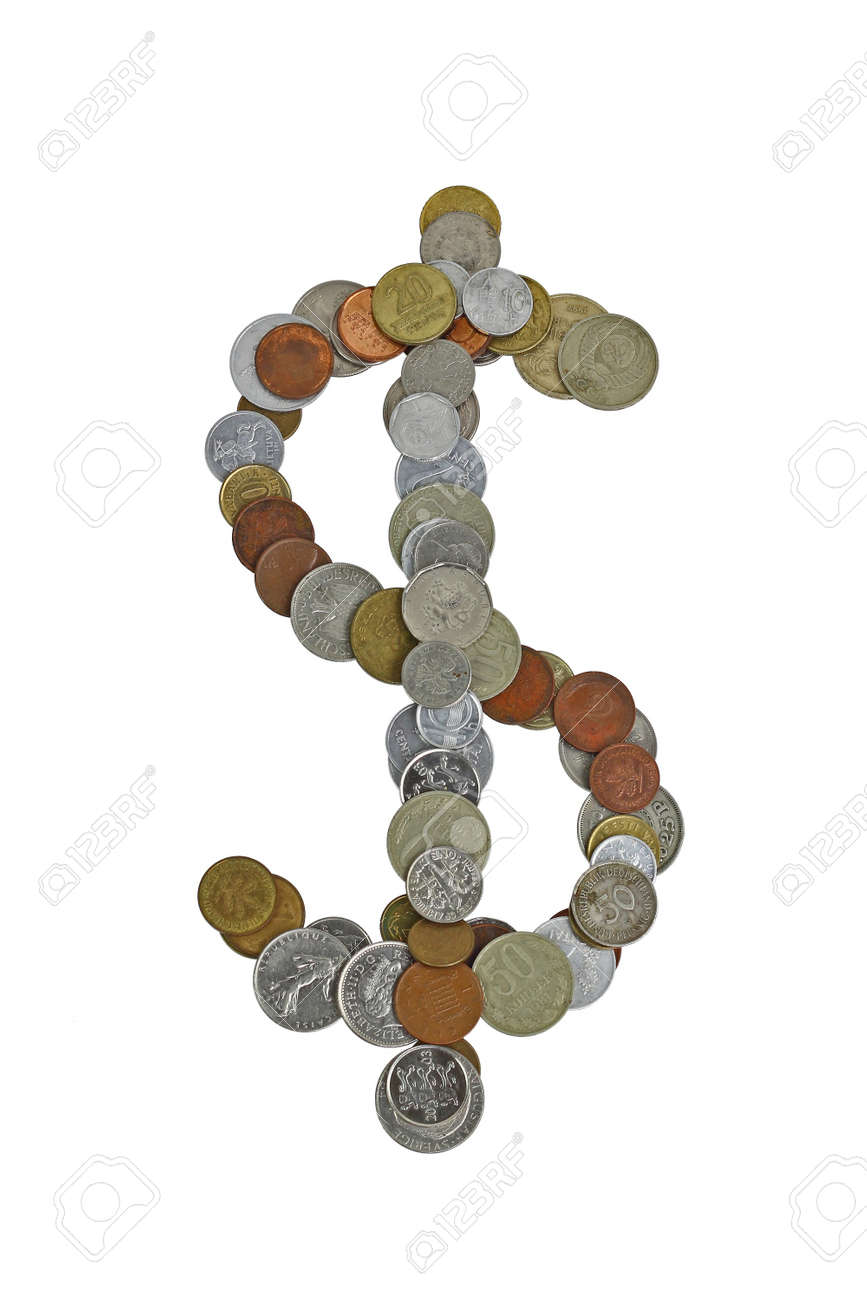 Dollar sign laid out with small coins of different countries dollar sign laid out with small coins of different countries mostly obsolete stock photo biocorpaavc