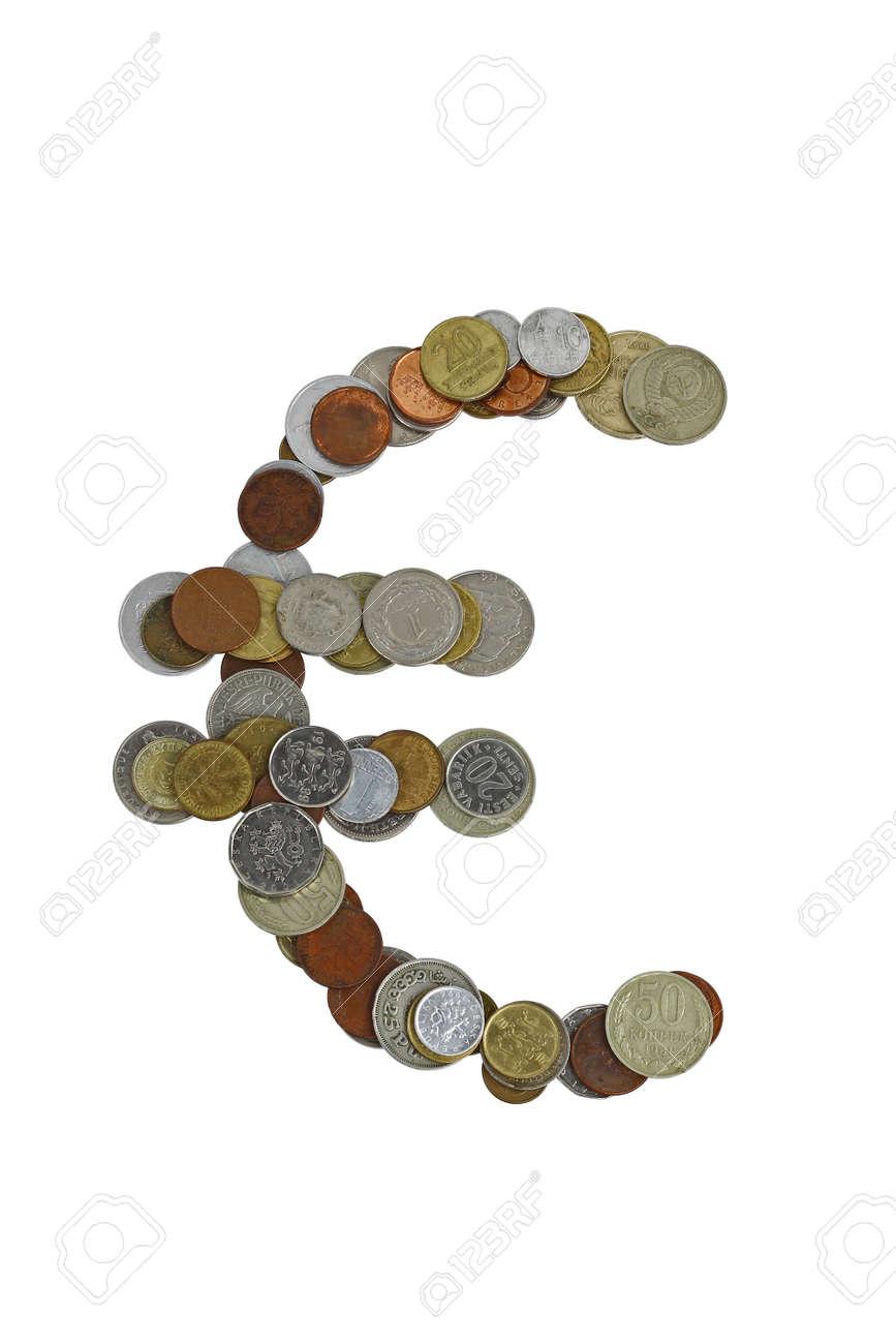 Euro Zeichen Mit Kleinen Münzen Aus Verschiedenen Ländern