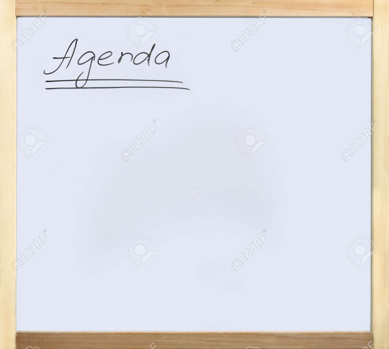 Word Agenda Written On Whiteboard In Wooden Frame Stock Photo ...