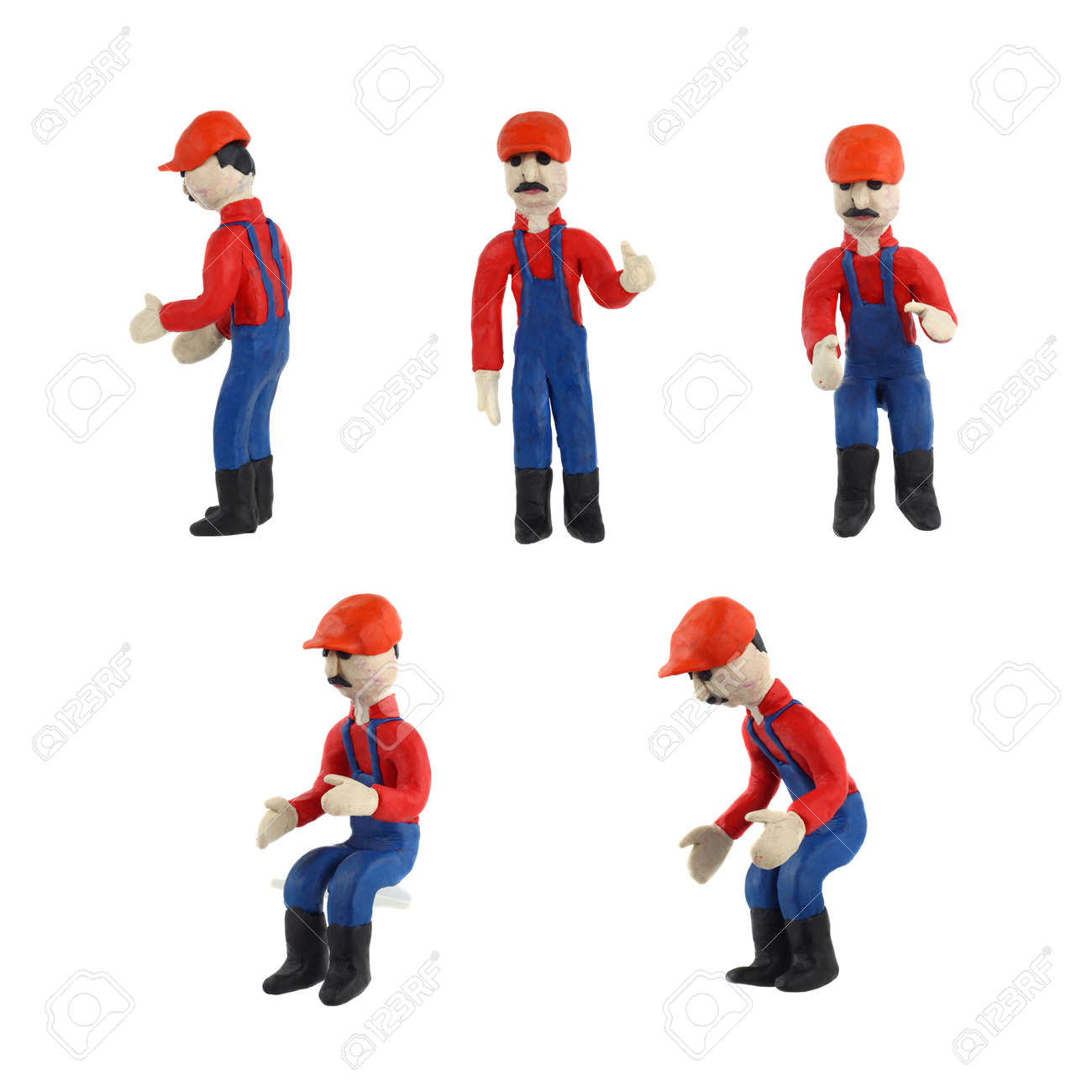 Plasticine figurine of a man in working clothes set in different poses Stock Photo - 16304650