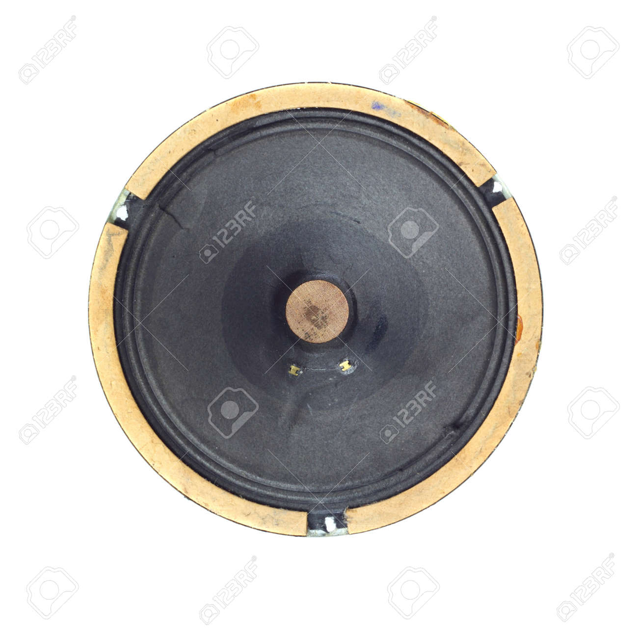 Loud speaker from vintage radio isolated on white Stock Photo - 16392991