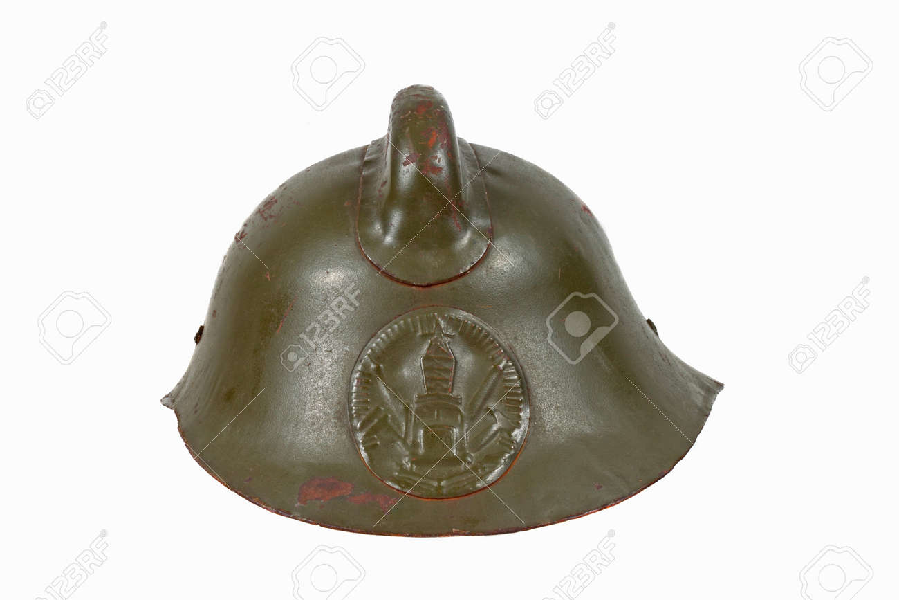 Vintage firefighters helmet isolated on white background Stock Photo - 17326999