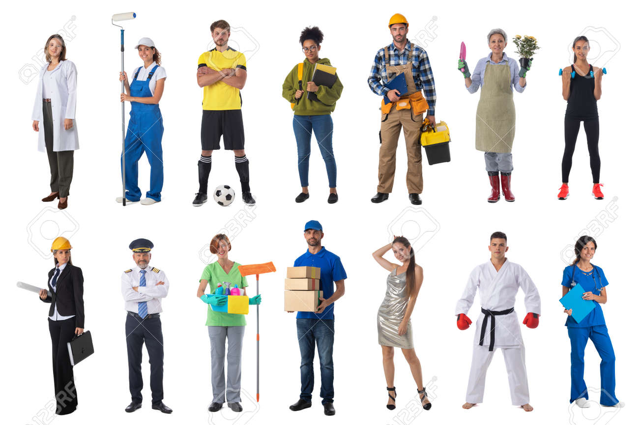 Collage set collection of people with various occupations professionals standing isolated on white background - 168097114