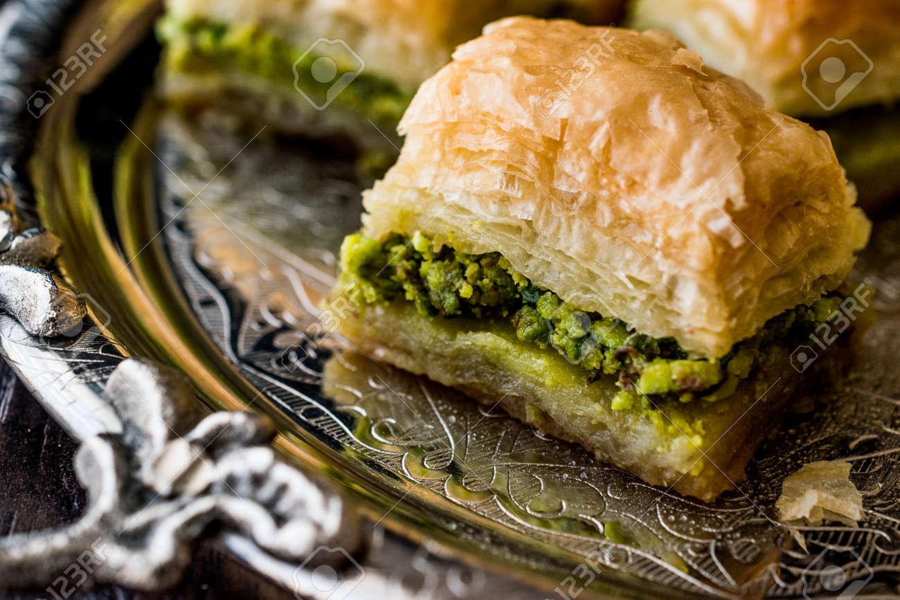 turkish dessert baklava with pistachio on silver tray dessert