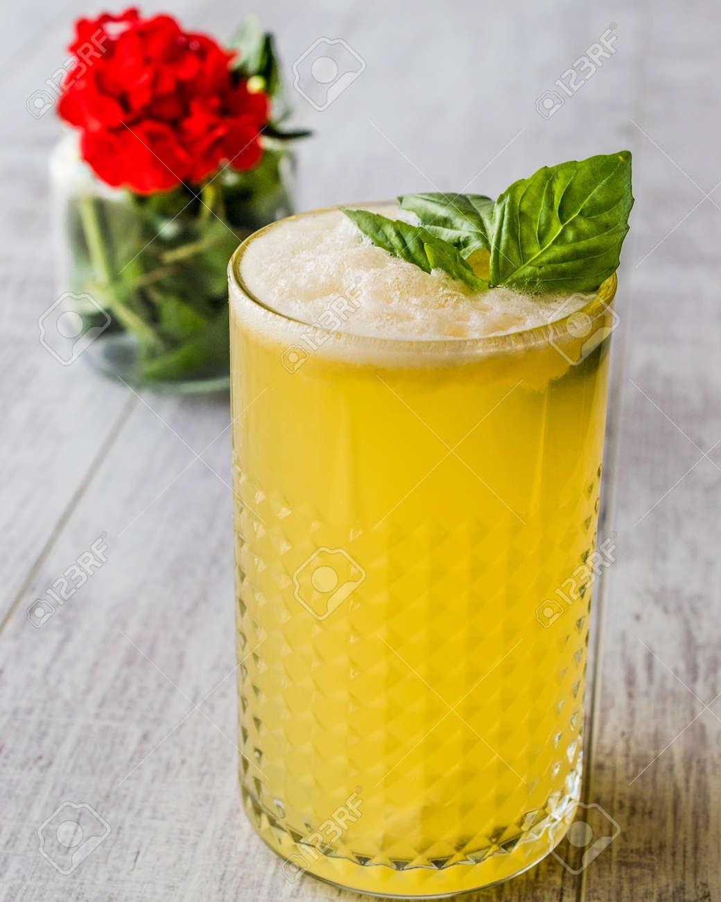 persian saffron milkshake with basil leaves traditional beverage