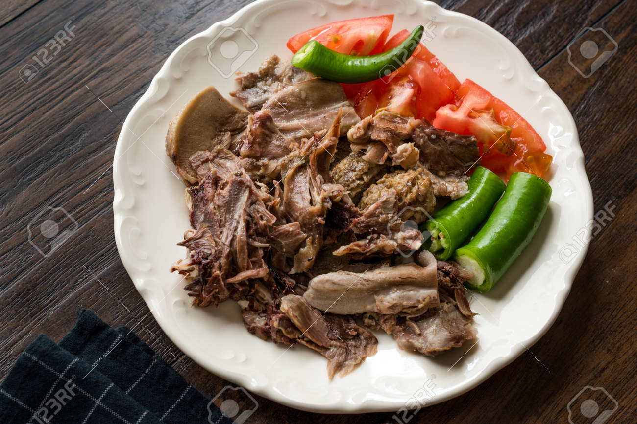 Traditional Turkish Offal Food Kelle Sogus / Lamb Head Meat with