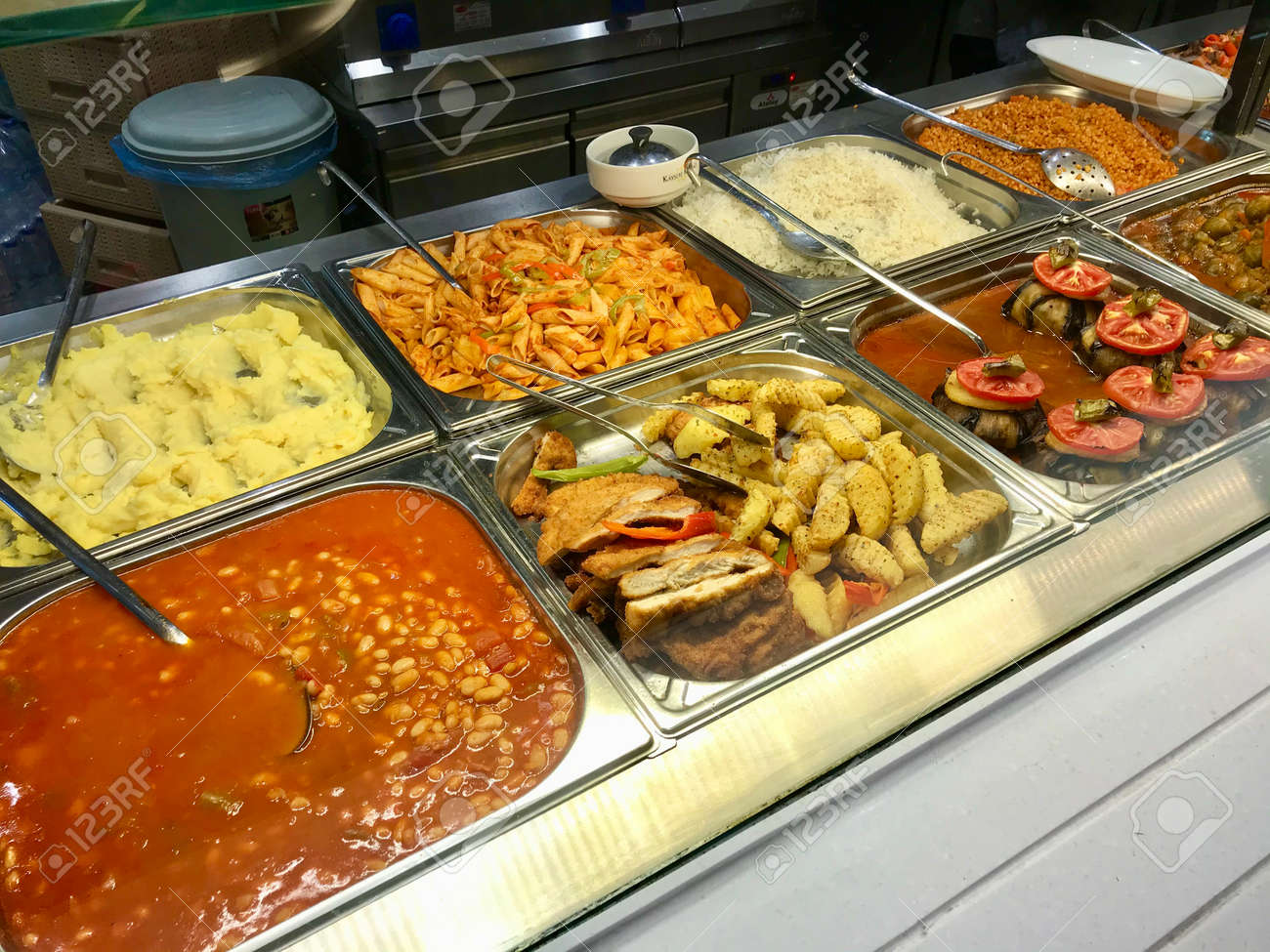Traditional Local Turkish Restaurant Food in Showcase. Ready to Eat Traditional Food. - 151251418