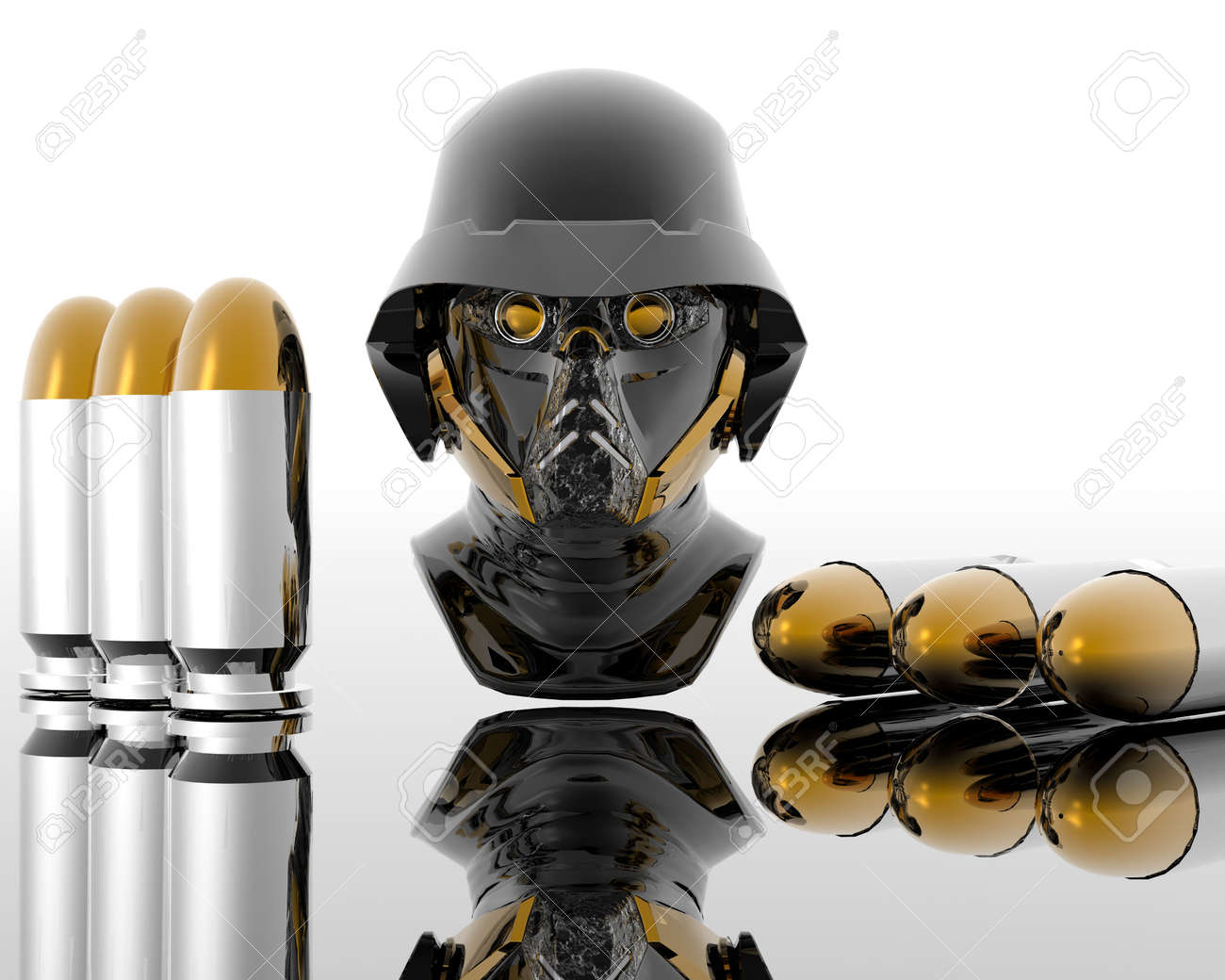 3d soldiers in a gas mask with silver bullets Stock Photo - 3840954