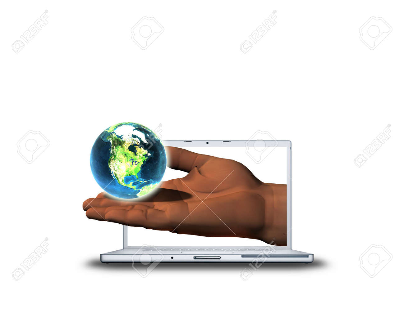 3D hand with earth on laptop screen Stock Photo - 3840118