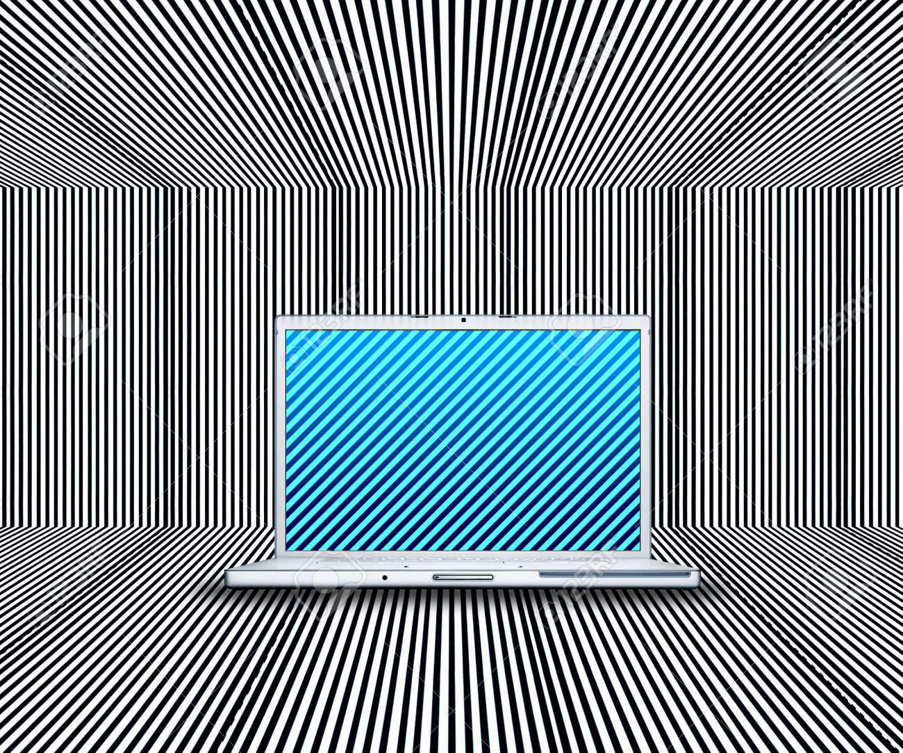 laptop with creative screen on the stripes background Stock Photo - 3840439