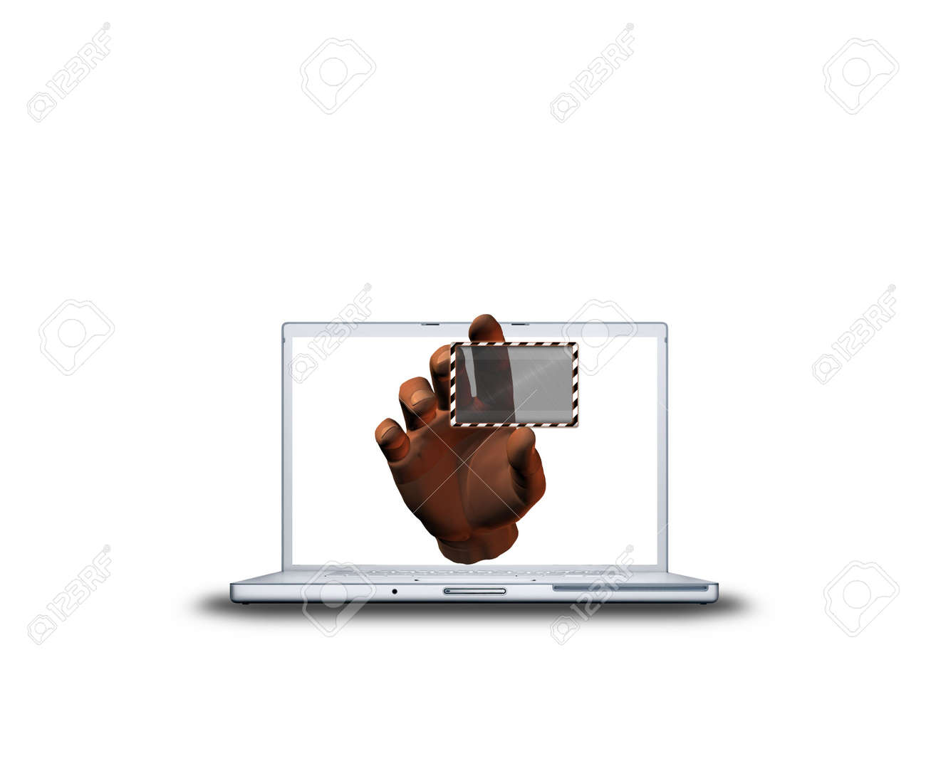laptop with 3D hand and transparent sticker isolated on white background Stock Photo - 3839874