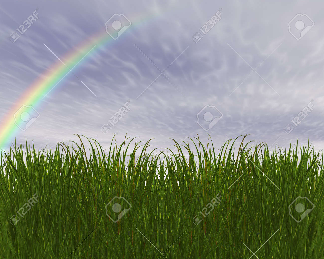 3D green grass and blue sky creative abstract background Stock Photo - 3840250