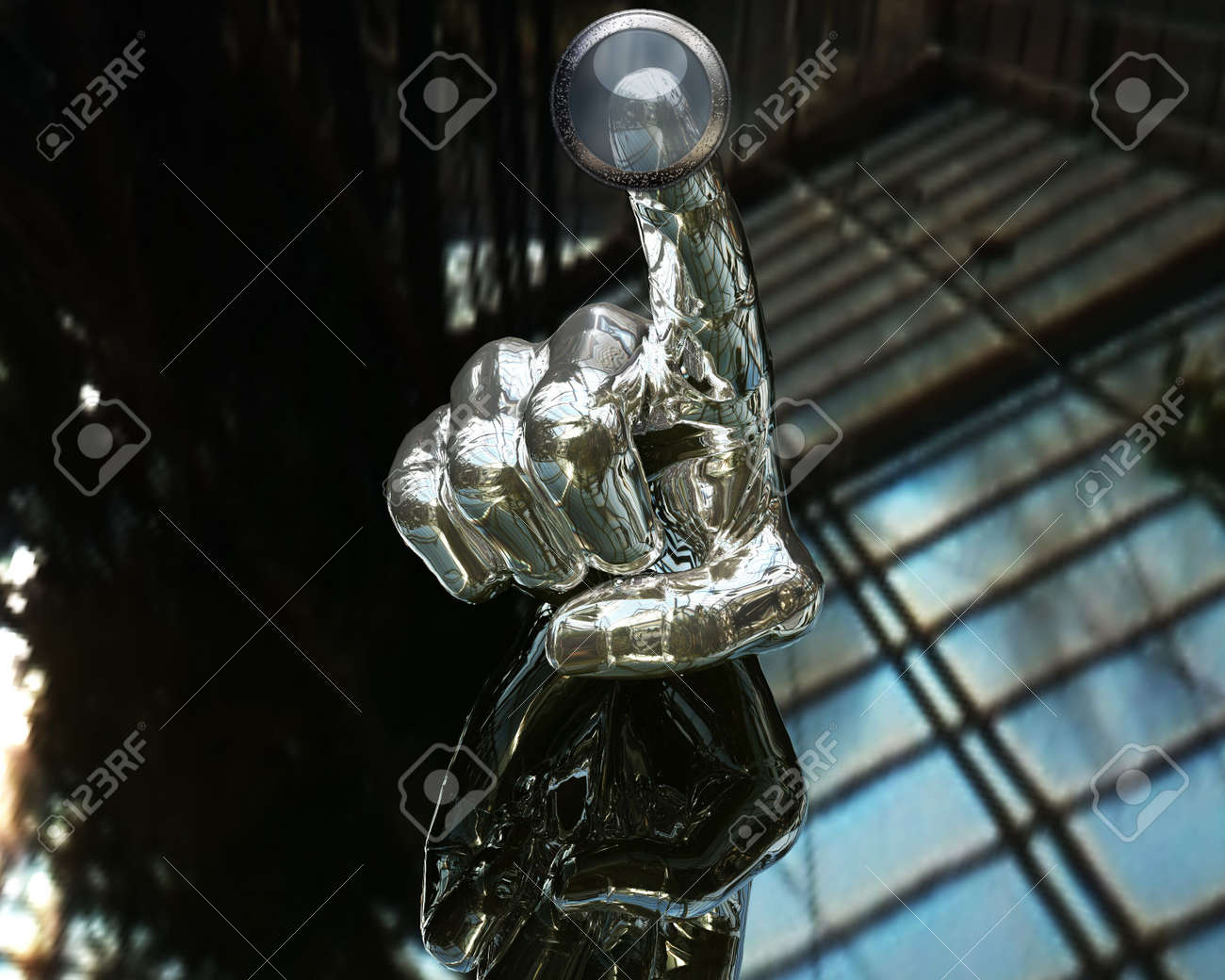 3D silver hand pushing transparent button Stock Photo - 3840867