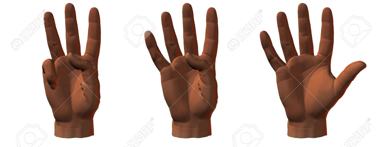 counting 3D hands isolated on white Stock Photo - 3840727