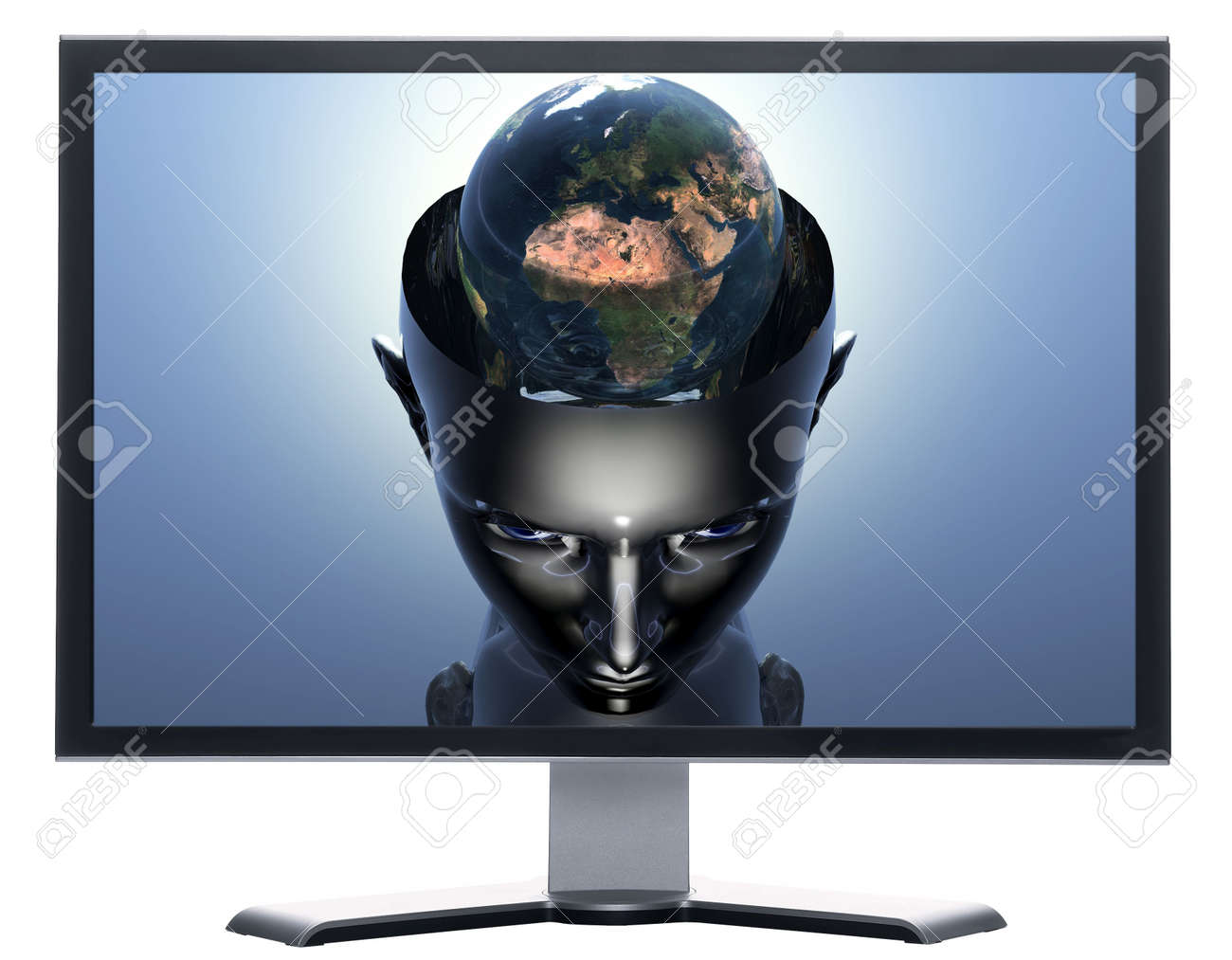 monitor with 3D earth in 3D cyborg girl head isolated on white Stock Photo - 3840762