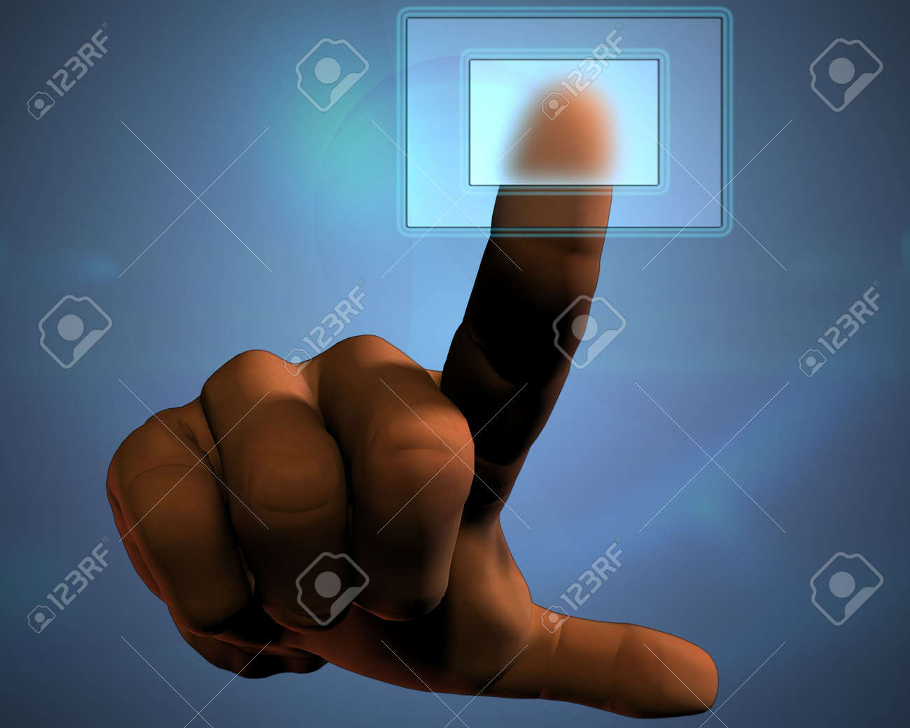 3D hand pushing transparent button Stock Photo - 3839814