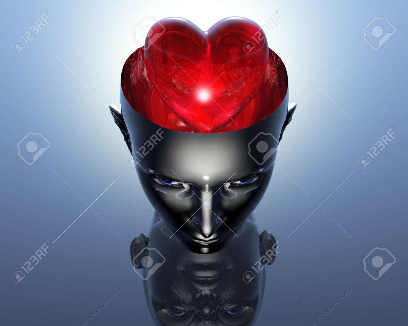 3D heart in 3D cyborg girl head Stock Photo - 3855486