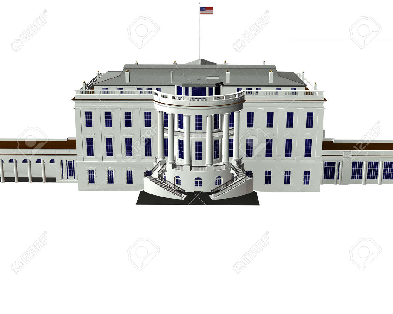 White House 3d Model Isolated On A White Background