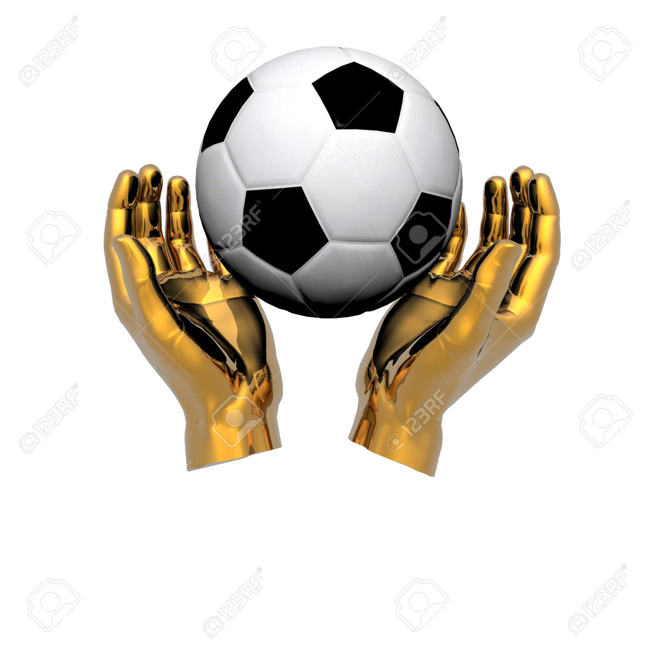 3d Soccer ball in hands isolated on a white background Stock Photo - 3879086