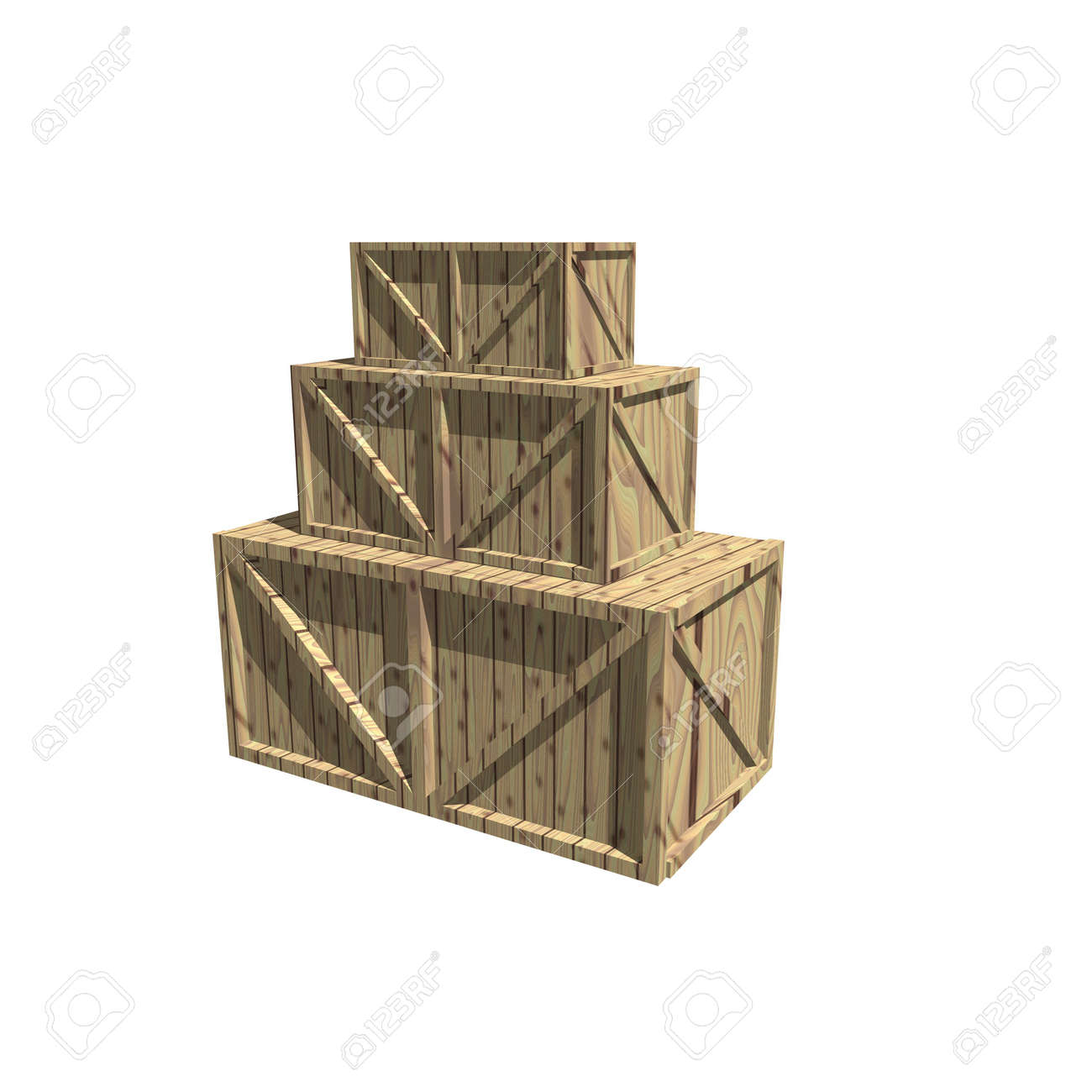 Wooden crates isolated on white Stock Photo - 3879092