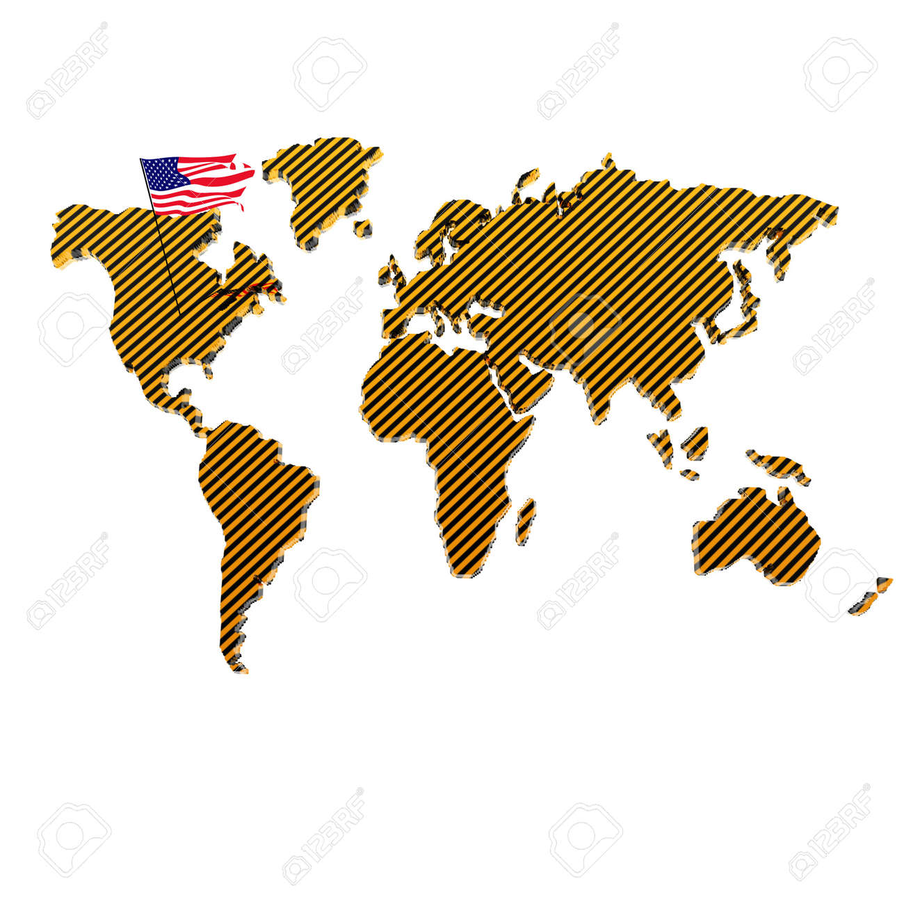 us flag on the world map isolated on a white background Stock Photo - 4135570
