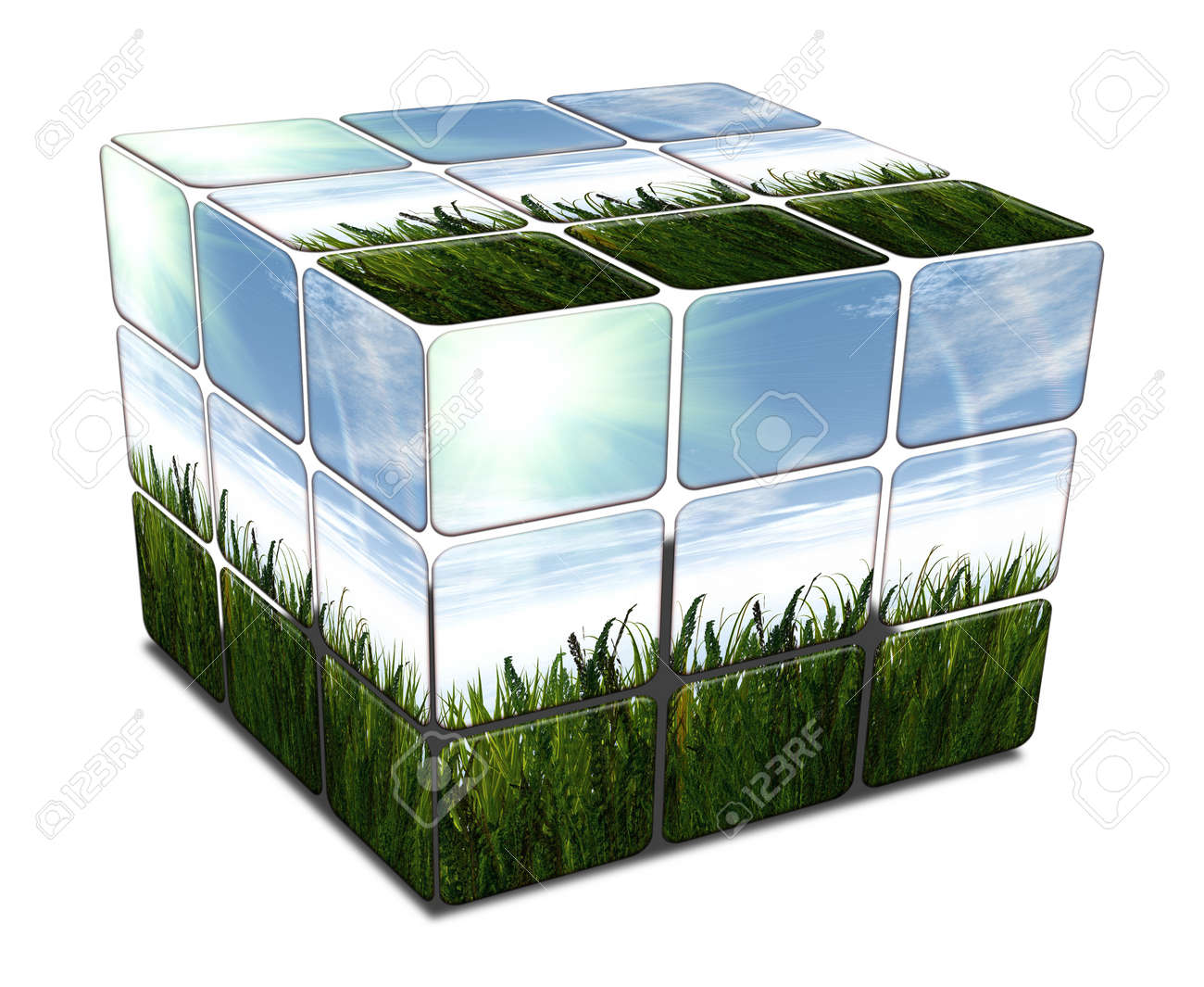 cube with green grass and blue sky on white background Stock Photo - 4176657