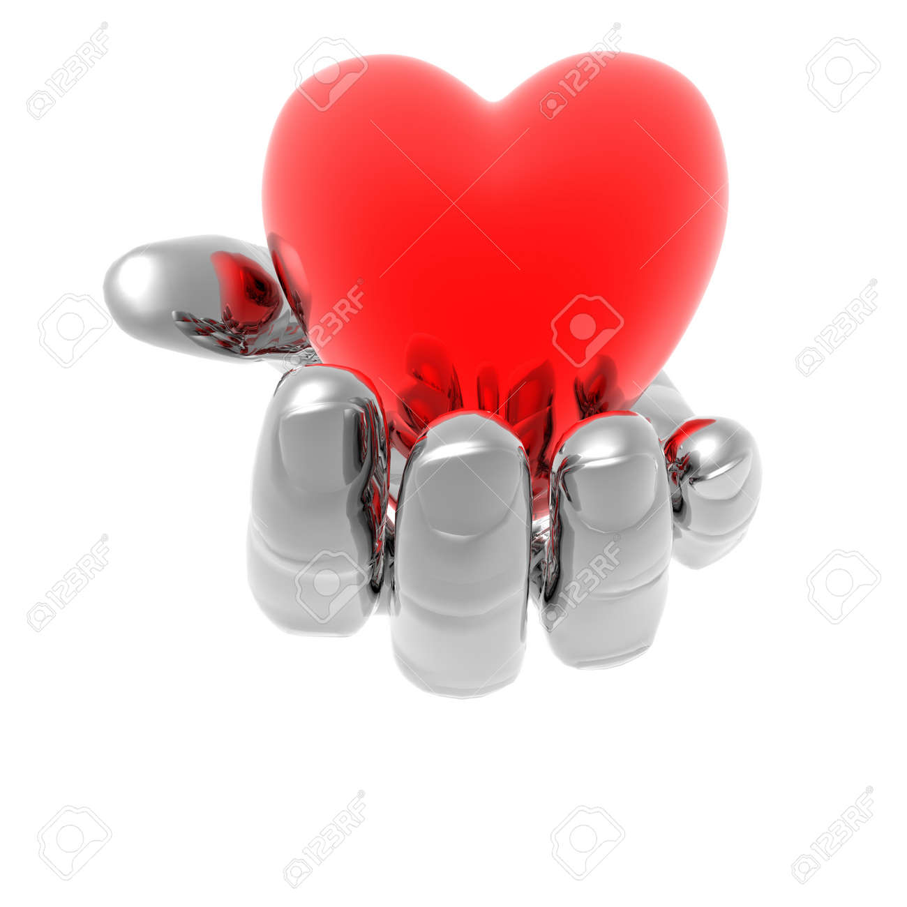heart on the hand isolated on a white Stock Photo - 4316258