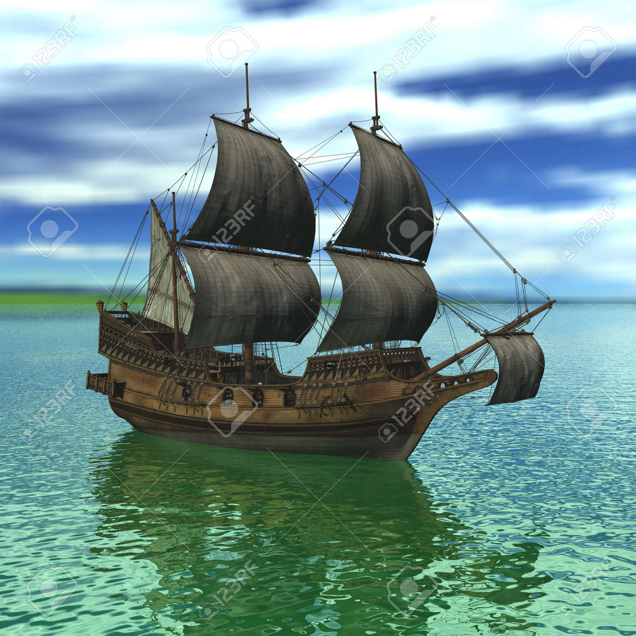 sailing vessel in the sea stock photo picture and royalty free