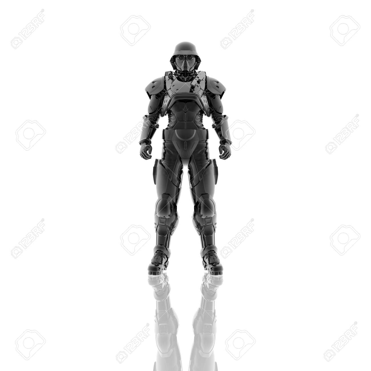 3d soldier in a gas mask isolated on a white background Stock Photo - 4439843