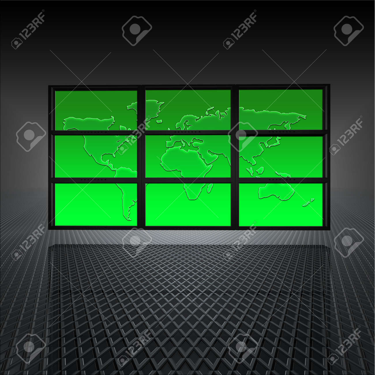 video wall with world map on the screens Stock Photo - 4655657