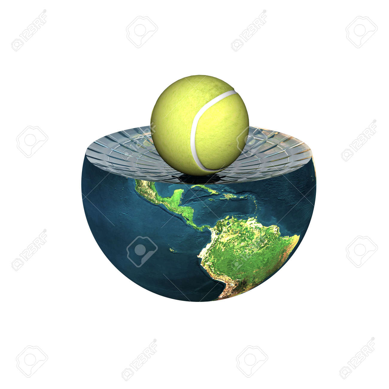 tennis ball on earth hemisphere isolated on a white Stock Photo - 4704500