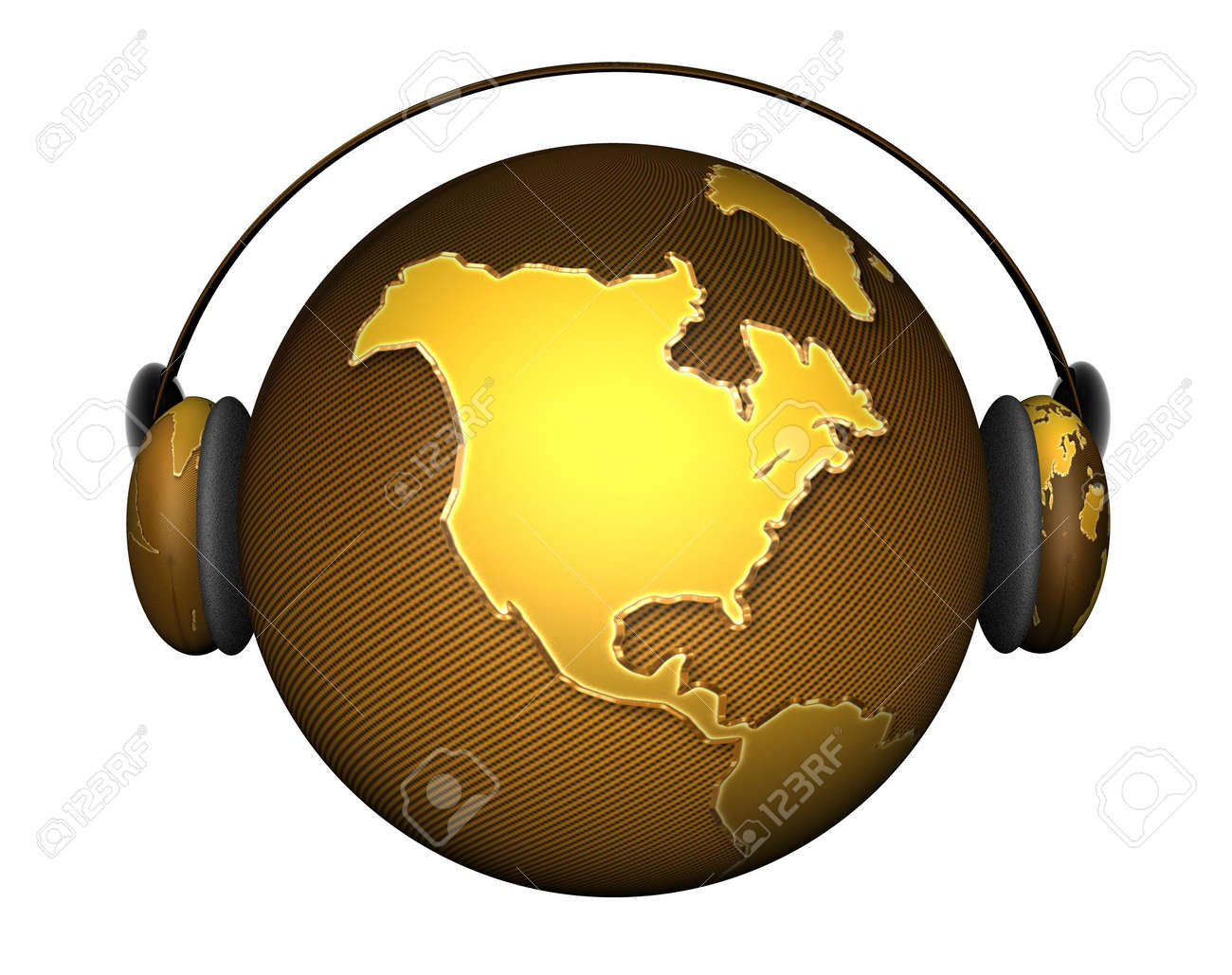 music planet earth with headphones isolated on a white Stock Photo - 4865770